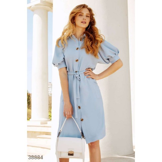 Голубое платье-рубашка (38884)