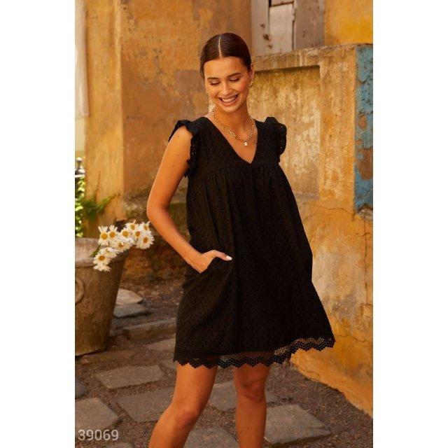 Черное платье из прошвы (39069)