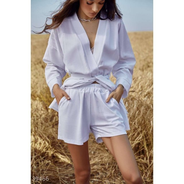 Льняной костюм с рубашкой (39466)
