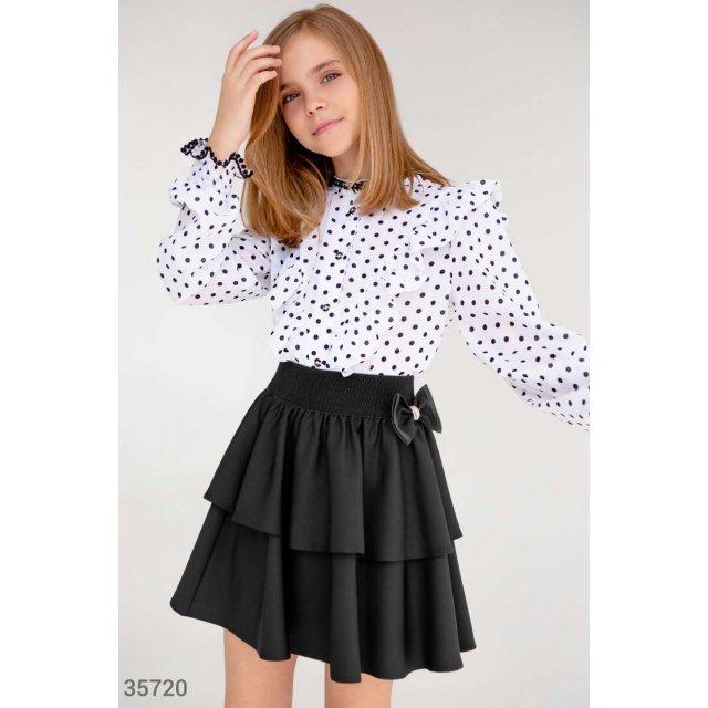 Черная многоярусная юбка-клеш (35720)