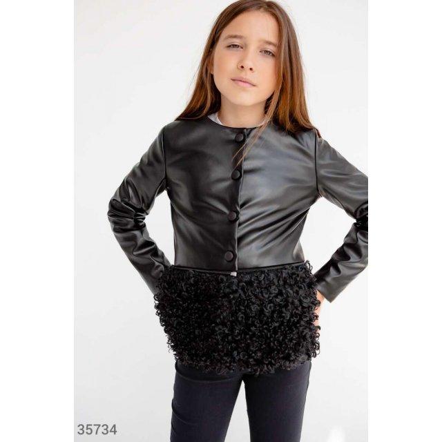 Кожаная демисезонная куртка для девочки (35734)