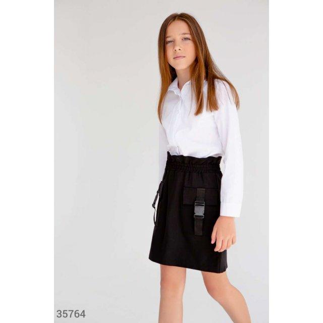 Черная школьная юбка с карманами (35764)