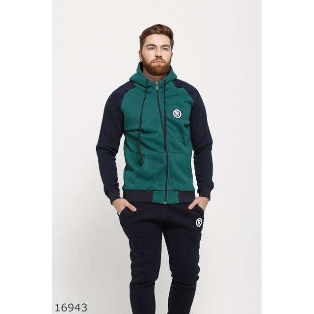 Мужской утепленный спортивный костюм 16943 синий зеленый (16943)