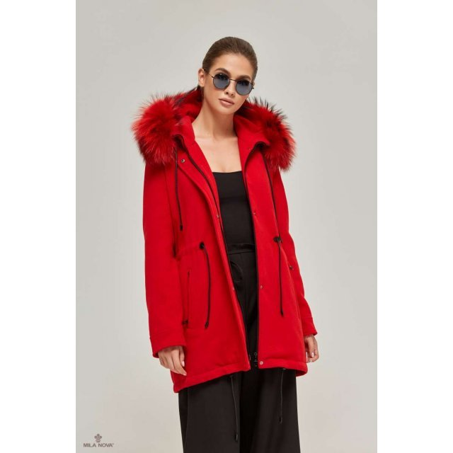 Mila Nova Зимняя парка-пальто П-57 Красная