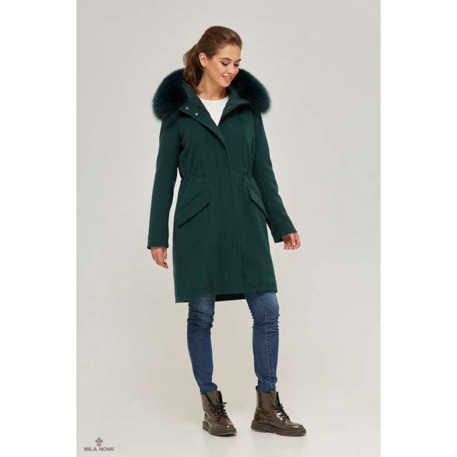 Mila Nova Зимова парка-пальто П-58 Зелена