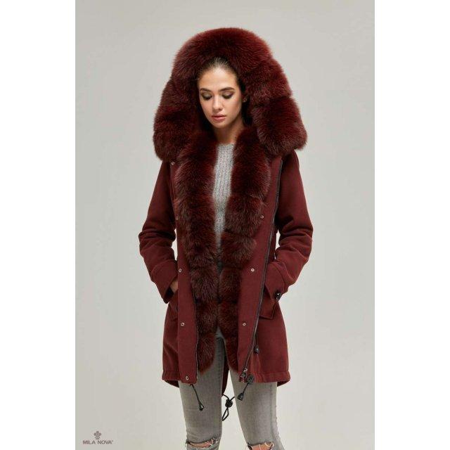 Mila Nova Зимова парка-пальто П-60 Бордо