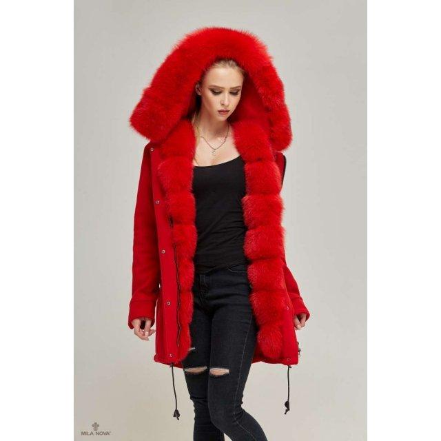 Mila Nova Зимняя парка-пальто П-60 Красная