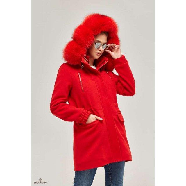 Mila Nova Зимняя парка-пальто П-64 Красная