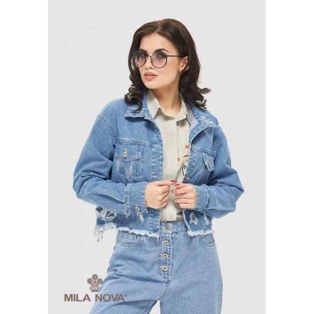 Mila Nova Джинсовая куртка-жакет Q-58 Голубой
