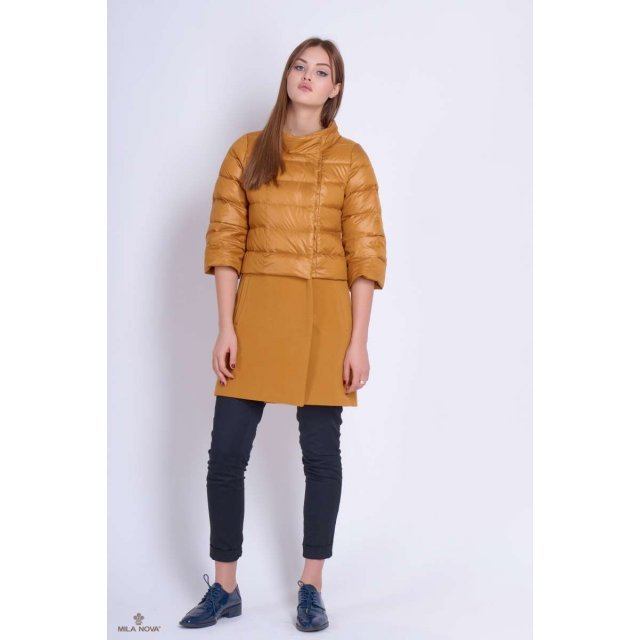 Mila Nova Куртка-пальто К-4в горчица