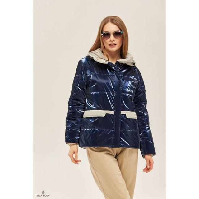 Mila Nova Куртка К-151 Синяя + серый