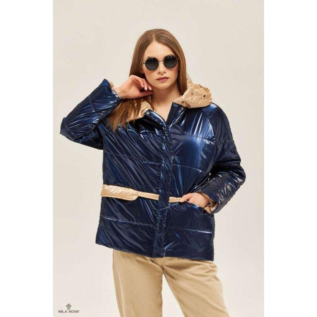 Mila Nova Куртка К-151 Синяя + бежевый