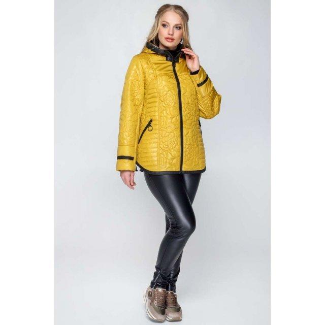 Женская модная куртка весна / осень в цвете - горчица