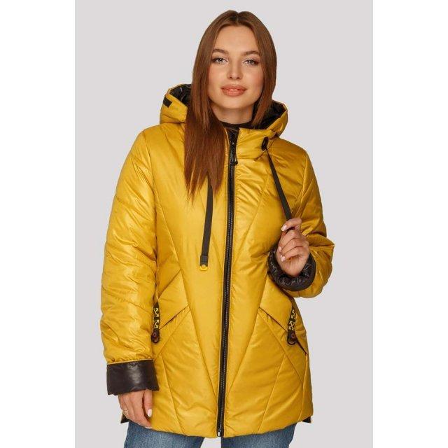 Стильная демисезонная женская куртка в ультрамодном цвете горчица