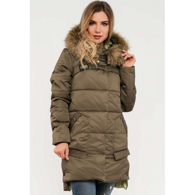 Женская куртка зимняя с меховой опушкой  цвета хаки