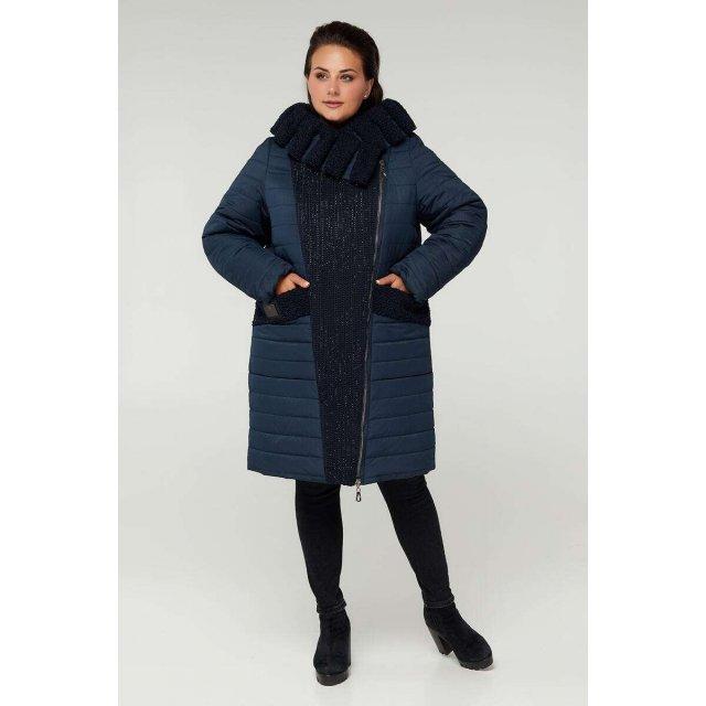Двубортное зимнее комбинированное пальто камни