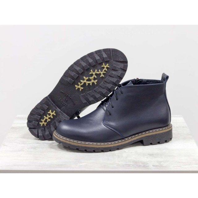 Женские ботинки на шнуровке в стиле Dr. Martens, выполнены из натуральной кожи синего цвета