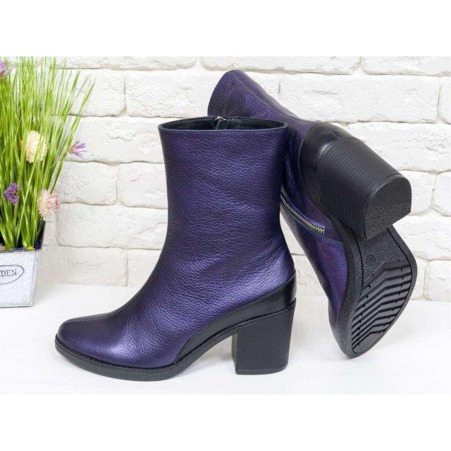 Женские ботильоны на среднем каблуке, из натуральной кожи невероятного фиолетового цвета