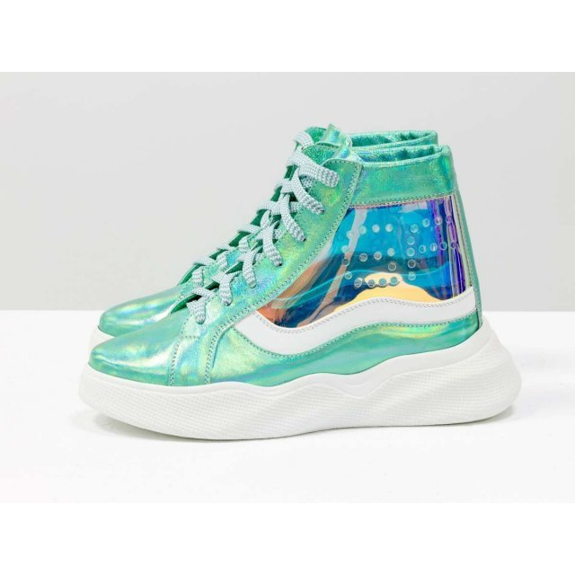 Дизайнерские прозрачные ботинки из натуральной блестящей кожи голубой