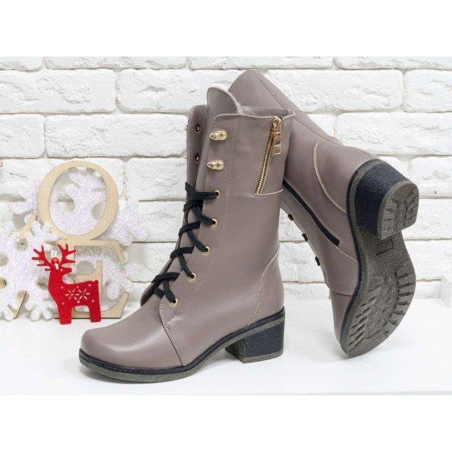 Женские высокие Ботинки на шнуровке из натуральной гладкой кожи бежевого цвета