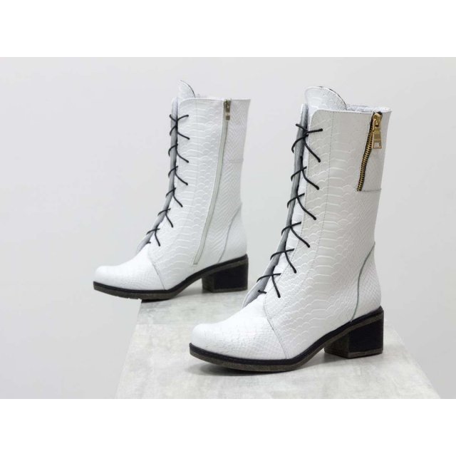 Женские высокие Ботинки на шнуровке из натуральной текстурированной кожи