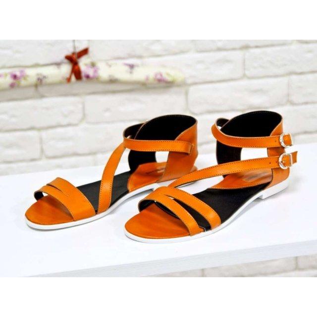 Облегченные босоножки из натуральной кожи ярко оранжевого цвета