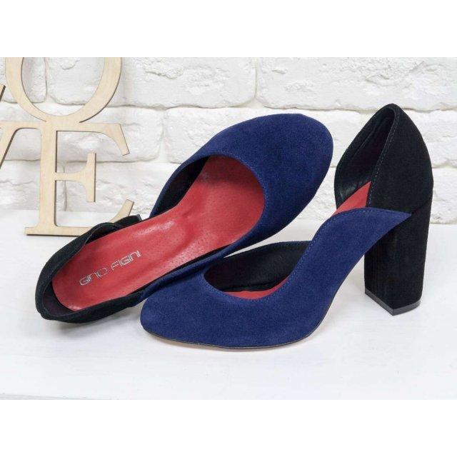Женские туфли из натуральной замши синего и черного цвета