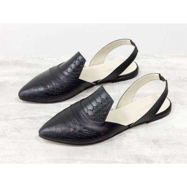 Милые и красивые туфли лодочки с открытой пяткой из эксклюзивной кожи черного цвета