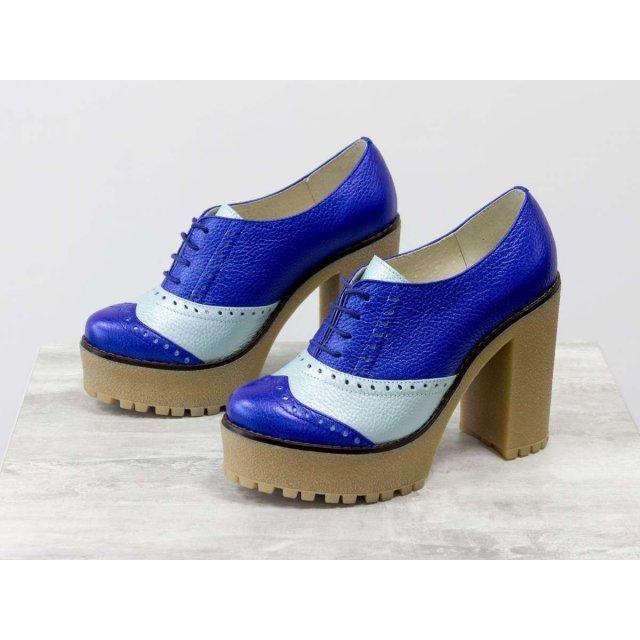 Женские туфли в стиле броги из натуральной кожи флотар яркого сочетания синего и светло-бирюзового цвета