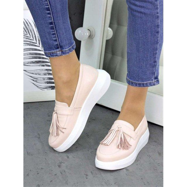 Туфли лоферы кожа пудра