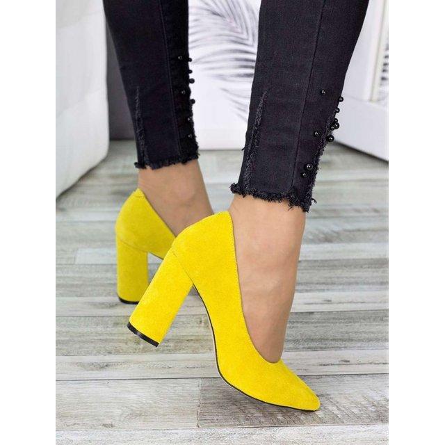 Туфли на каблуке лимон замша
