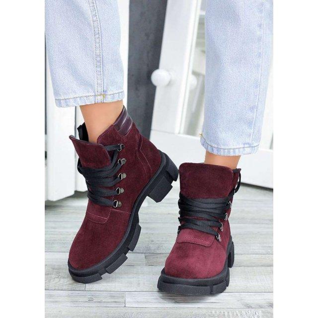 Ботинки трапперы бордо замша