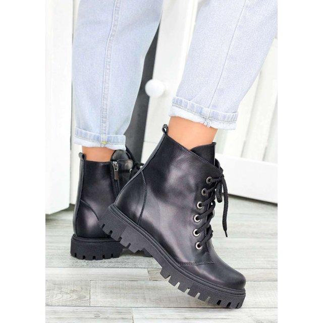 Ботинки трапперы черная кожа