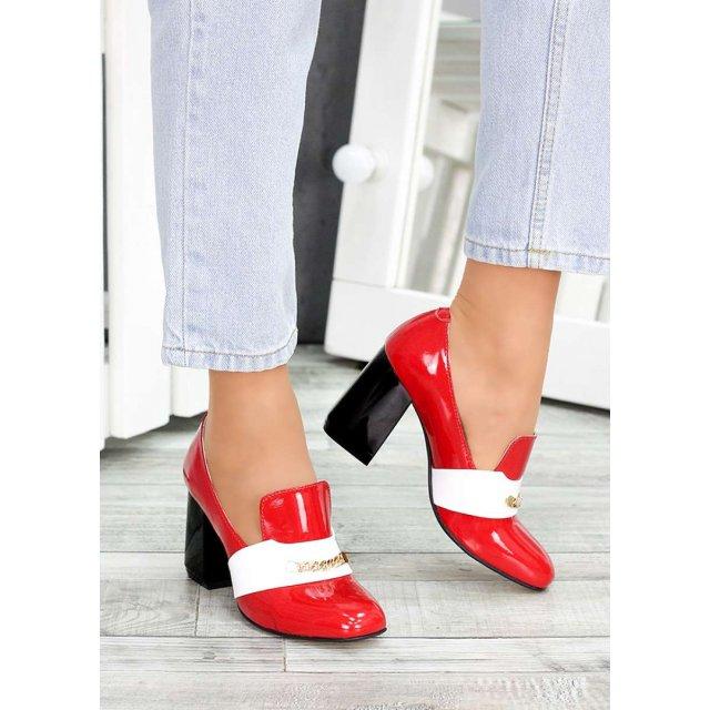 !Туфли кожа красный лак