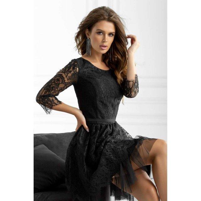 Гипюровое вечернее платье черного цвета