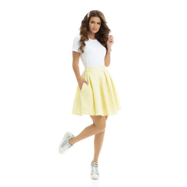 Желтая юбка с карманами (3001-09)